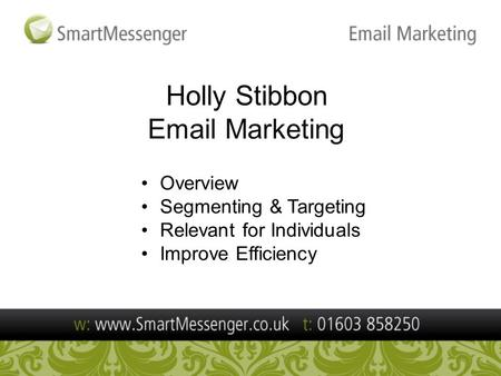 Holly Stibbon Email Marketing Overview Segmenting & Targeting Relevant for Individuals Improve Efficiency.