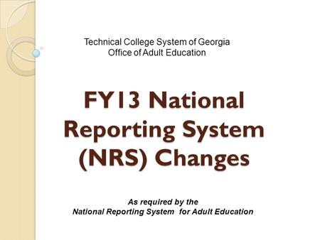 National Reporting System for Adult Education Programs