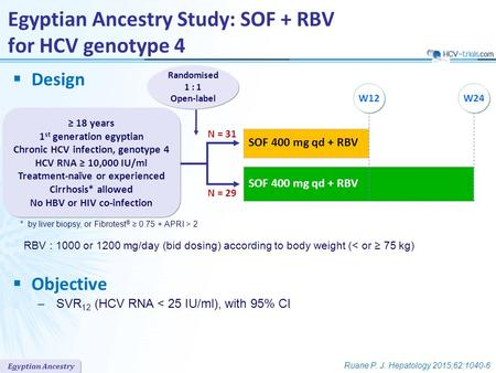 Egyptian Ancestry  Design  Objective –SVR 12 (HCV RNA < 25 IU/ml), with 95% CI SOF 400 mg qd + RBV Randomised 1 : 1 Open-label Egyptian Ancestry Study: