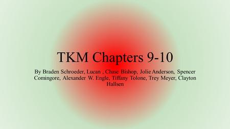 TKM Chapters 9-10 By Braden Schroeder, Lucan, Chase Bishop, Jolie Anderson, Spencer Comingore, Alexander W. Engle, Tiffany Tolone, Trey Meyer, Clayton.