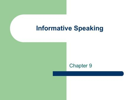 Informative Speaking Chapter 9. Four types of Informative Speeches Definition Description Demonstration and Process Social Ritual.