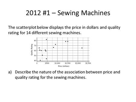 2012 #1 – Sewing Machines The scatterplot below displays the price in dollars and quality rating for 14 different sewing machines. a)Describe the nature.