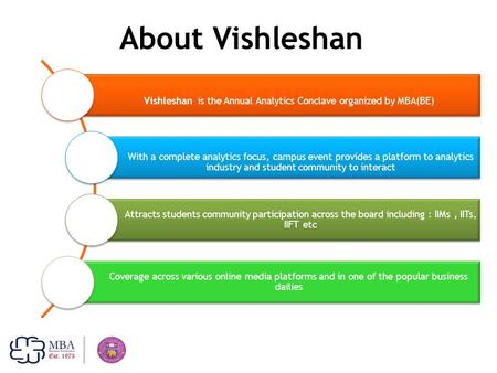 About Vishleshan Vishleshan is the Annual Analytics Conclave organized by MBA(BE) With a complete analytics focus, campus event provides a platform to.
