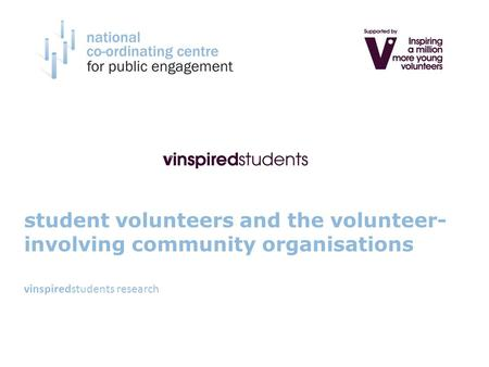 Student volunteers and the volunteer- involving community organisations vinspiredstudents research.