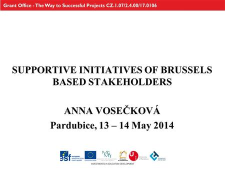 SUPPORTIVE INITIATIVES OF BRUSSELS BASED STAKEHOLDERS ANNA VOSEČKOVÁ Pardubice, 13 – 14 May 2014.