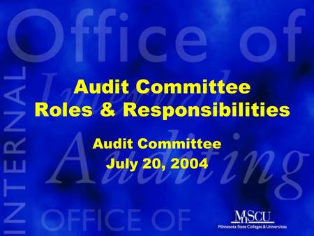 Audit Committee Roles & Responsibilities Audit Committee July 20, 2004.