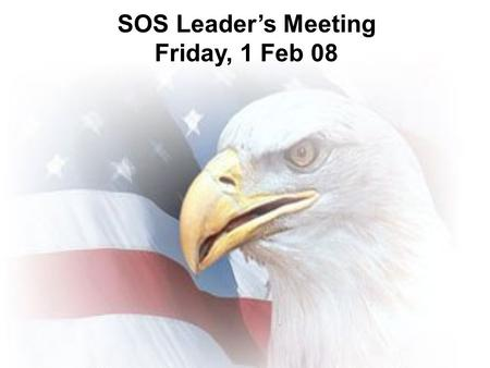 SOS Leader's Meeting Friday, 1 Feb 08. Why? FYI…