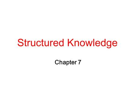 Structured Knowledge Chapter 7. 2 Logic Notations Does logic represent well knowledge in structures?