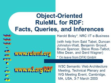 Object-Oriented RuleML for RDF: Facts, Queries, and Inferences Harold Boley*, NRC IIT e-Business (with help from Said Tabet, Duncan Johnston-Watt, Benjamin.