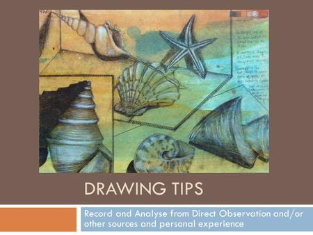 DRAWING TIPS Record and Analyse from Direct Observation and/or other sources and personal experience.