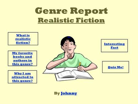 Genre Report Realistic Fiction By JohnnyJohnny What is realistic fiction? My favorite books and authors in this genre? Interesting Fact Quiz Me! Why I.