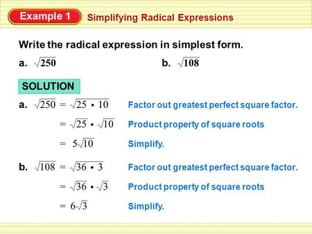 Write the radical expression in simplest form.