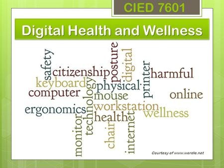 Digital Health and Wellness CIED 7601 Courtesy of www.wordle.net.
