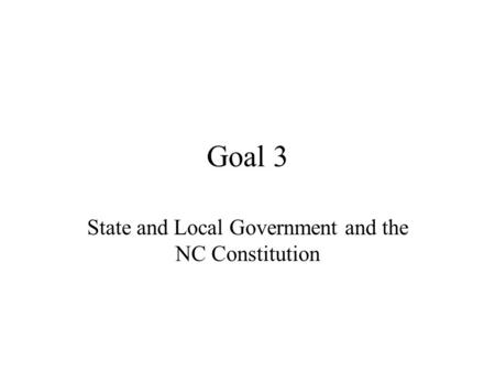 State and Local Government and the NC Constitution