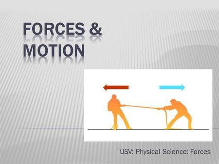 USV: Physical Science: Forces.  A push or a pull  How can you tell those objects are exerting a force on each other?  What are other examples of forces?