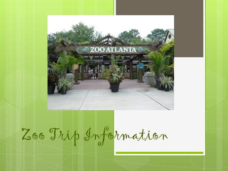 Zoo Trip Information Zoo Safety Rules  Stay with the chaperone at all times.  Follow any directions given by teachers, group leaders, chaperones, and.