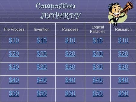 Composition JEOPARDY The Process InventionPurposes Logical Fallacies Research $10 $20 $30 $40 $50.