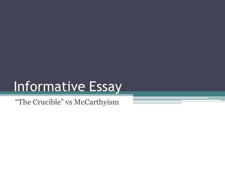 """The Crucible"" vs McCarthyism"