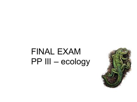 FINAL EXAM PP III – ecology. A=abiota B=biota Tree Rock Water Air Bird human B A A A (nonliving) B B (living)
