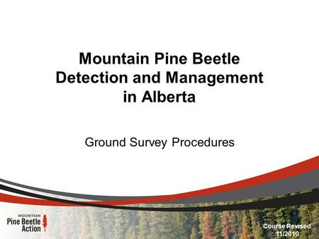 Mountain Pine Beetle Detection and Management in Alberta Ground Survey Procedures Course Revised 11/2010.