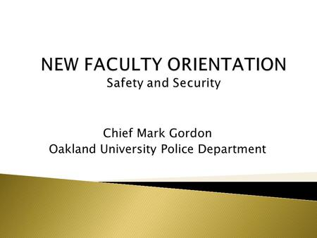 Chief Mark Gordon Oakland University Police Department.