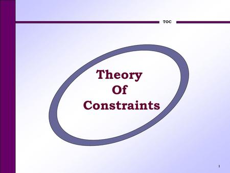 TOC 1 Theory Of Constraints. TOC 2 Theory of Constraints How does TOC differ from the conventional shop control theory? Throughput definition * Emphasis.