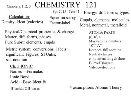 CHEMISTRY 121 Spr 2015 Test #1 Chapters: 1, 2, 3 Calculations Density; Heat (calories) Physical/Chemical properties & changes Matter, diff. forms, phases.
