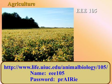 EEE 105  Name: eee105 Password: prAIRie Agriculture.