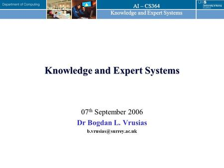 Knowledge and Expert Systems