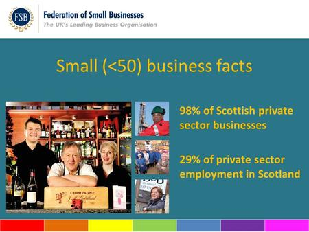 Small (<50) business facts 98% of Scottish private sector businesses 29% of private sector employment in Scotland.