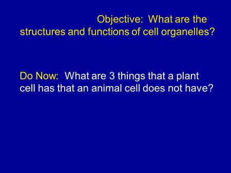 Objective: What are the structures and functions of cell organelles? Do Now: What are 3 things that a plant cell has that an animal cell does not have?