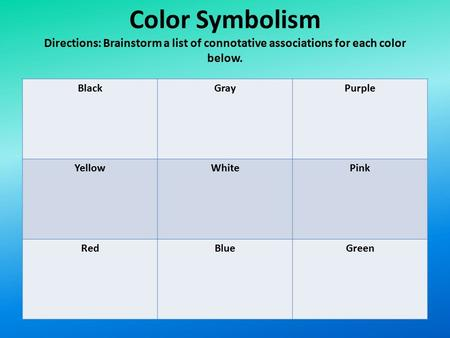 Color Symbolism Directions: Brainstorm a list of connotative associations for each color below. BlackGrayPurple YellowWhitePink RedBlueGreen.