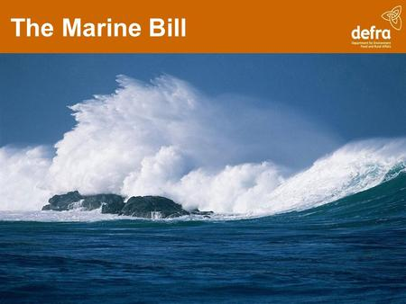 The Marine Bill. The Bill covers... Marine Management Organisation Marine planning Streamlined marine licensing Nature conservation Improved inshore fisheries.