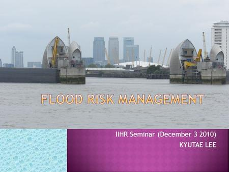 IIHR Seminar (December 3 2010) KYUTAE LEE. 1. The need for assessing Flood Risk? 2. Risk analysis/assessment – general overview 3. Issues in current practice.