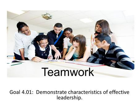 Teamwork Goal 4.01: Demonstrate characteristics of effective leadership.