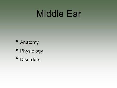 Anatomy Physiology Disorders Middle Ear. The big picture Eustachian tube Mastoid Tympanic cavity Ossicles Anatomy.