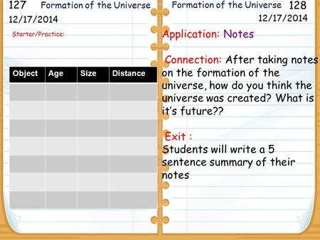 Starter/Practice: Next slide 12/17/2014 127 128 12/17/2014 Application: Notes Connection: After taking notes on the formation of the universe, how do you.