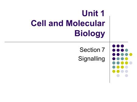 Unit 1 Cell and Molecular Biology Section 7 Signalling.