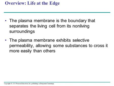 Copyright © 2005 Pearson Education, Inc. publishing as Benjamin Cummings Overview: Life at the Edge The plasma membrane is the boundary that separates.