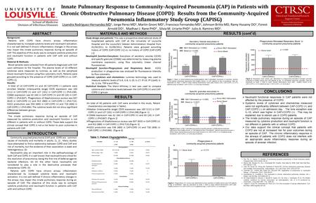 Innate Pulmonary Response to Community-Acquired Pneumonia (CAP) in Patients with Chronic Obstructive Pulmonary Disease (COPD): Results from the Community-Acquired.
