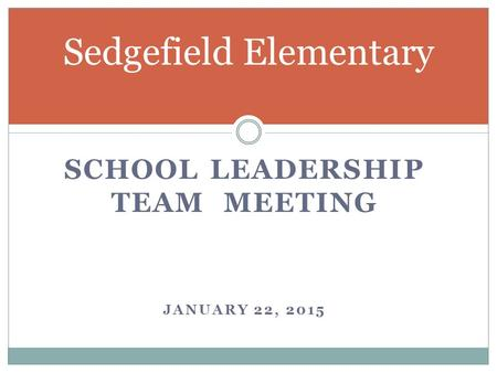 SCHOOL LEADERSHIP TEAM MEETING JANUARY 22, 2015 Sedgefield Elementary.