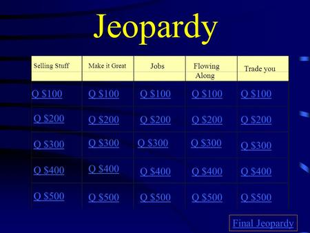 Jeopardy Selling StuffMake it Great Jobs Flowing Along Trade you Q $100 Q $200 Q $300 Q $400 Q $500 Q $100 Q $200 Q $300 Q $400 Q $500 Final Jeopardy.