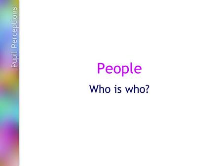 People Who is who?. Pupil Perceptions There are seven categories of people: -Teachers and other adults in school -Friends -Family and/or carers -Police.