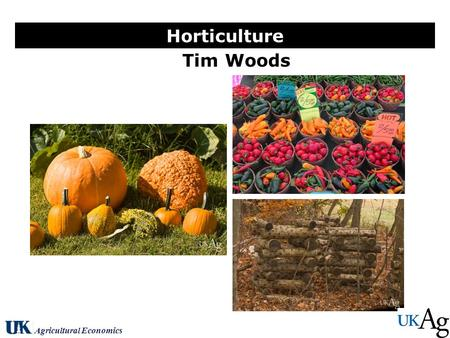 Tim Woods Horticulture Agricultural Economics. U.S. Produce Farm Cash Receipts Source: Vegetable & Melons Situation and Outlook, ERS, 2010.