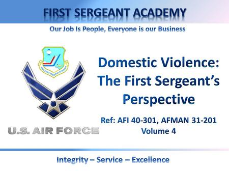OVERVIEW Definitions and Air Force Policy Possible Domestic Violence Indicators Rules of Engagement Referral Agencies.