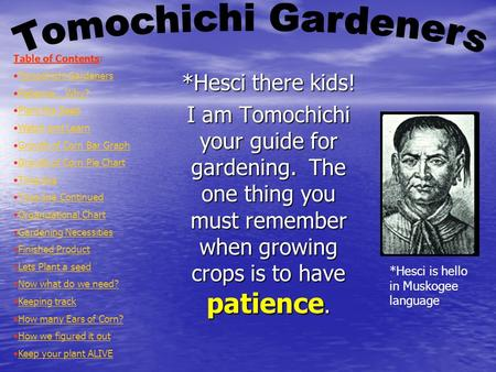 *Hesci there kids! I am Tomochichi your guide for gardening. The one thing you must remember when growing crops is to have patience. Table of Contents: