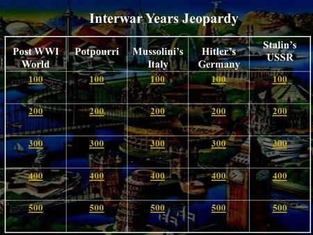Post WWI World PotpourriMussolini's Italy Hitler's Germany Stalin's USSR 100 200 300 400 500 Interwar Years Jeopardy.
