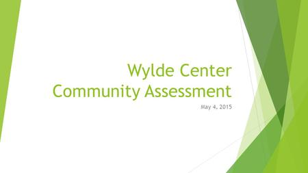 Wylde Center Community Assessment May 4, 2015. Agenda  Methods  Response Rates  Quantitative Data Overview  Qualitative Data Overview  Recommendations.