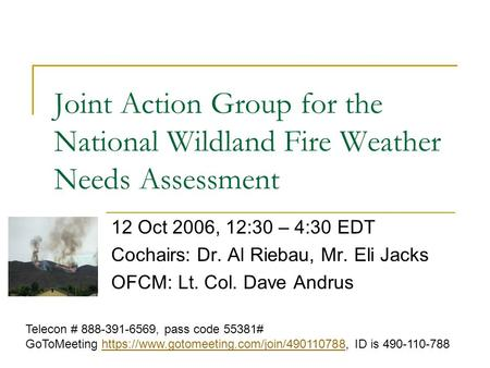 Joint Action Group for the National Wildland Fire Weather Needs Assessment 12 Oct 2006, 12:30 – 4:30 EDT Cochairs: Dr. Al Riebau, Mr. Eli Jacks OFCM: Lt.