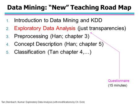 "Tan,Steinbach, Kumar: Exploratory Data Analysis (with modifications by Ch. Eick) Data Mining: ""New"" Teaching Road Map 1. Introduction to Data Mining and."